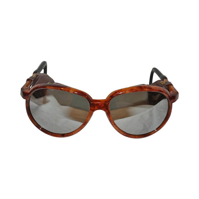 Mirrored with Leather Accent Tortosise Shell Driving Sunglasses