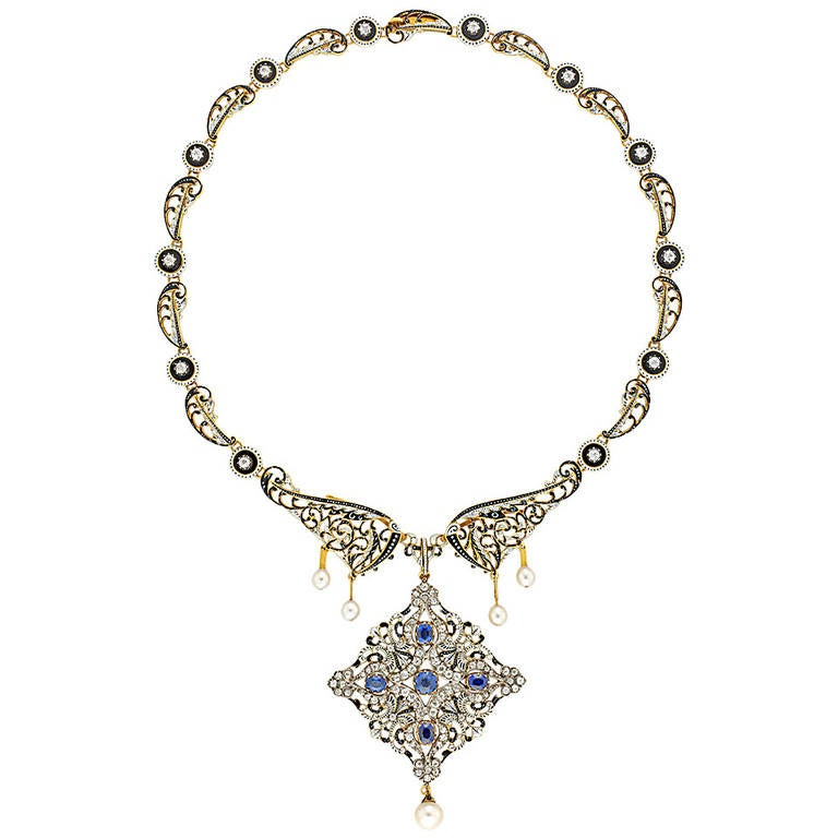 Important C. and A. Giuliano Enamel Sapphire Diamond Necklace For Sale
