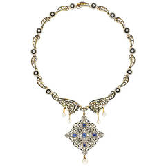 Important C. and A. Giuliano Enamel Sapphire Diamond Necklace