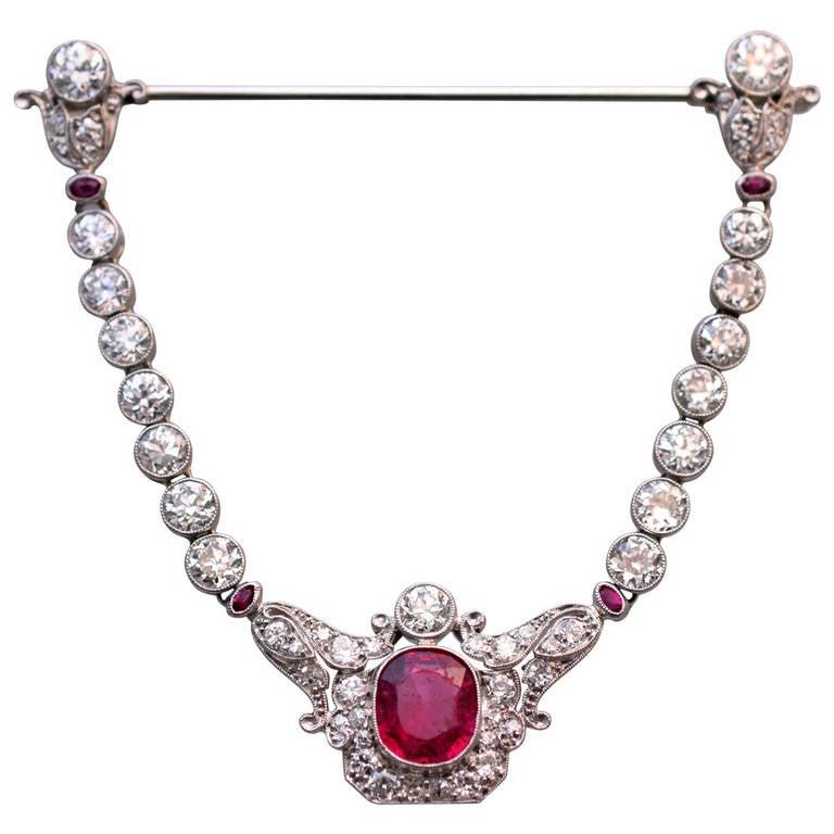 Edwardian Spinel Diamond Jabot Brooch