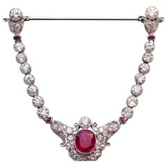 Edwardian Spinel Diamond Jabot Brooch