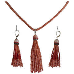 Coral Sautoir and Tassel Earring Set