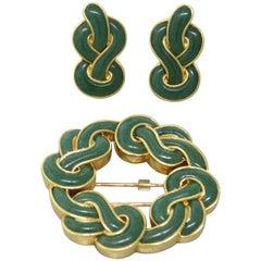Angela Cummings Aventurine Gold Earrings Brooch Set