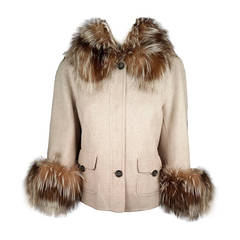 Carolina Herrera Wool and Cashmere Jacket With Fox Collar and Cuffs