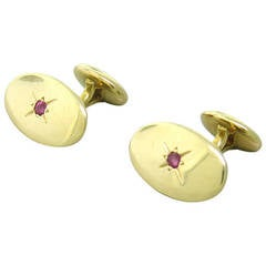 Antique Ruby Gold Oval Cufflinks