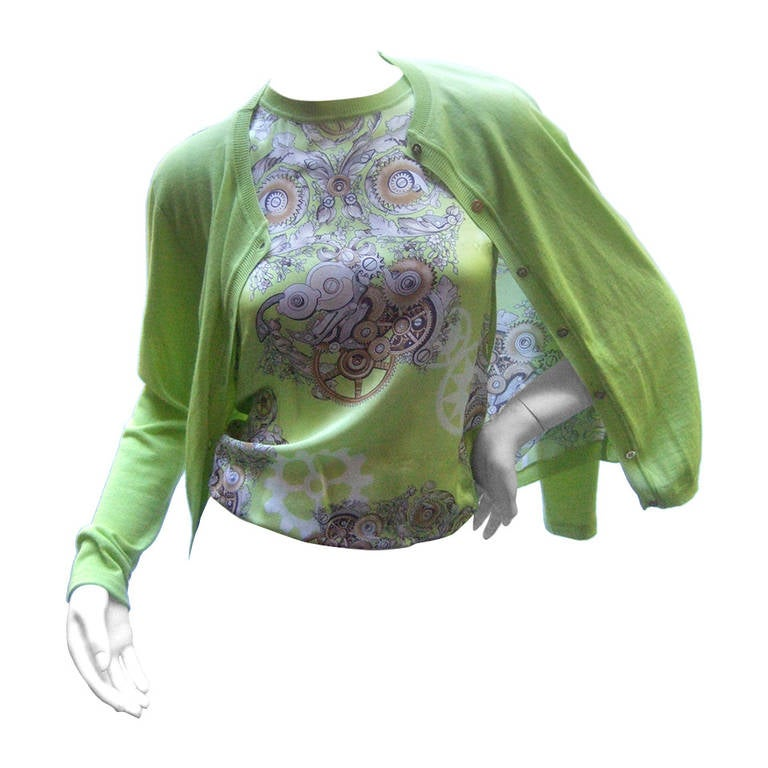 Versace Chic Silk & Wool Chartreuse Twin Set with Medusa Buttons