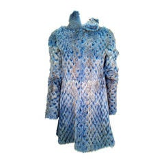 Alexander McQueen Electric Blue with Espresso Tip Laser Cut Mink Coat