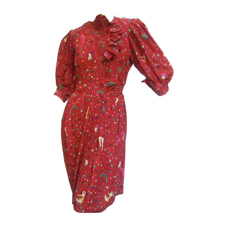 Emanuel Ungaro Paris Crimson Silk Circus Print Dress Size 6  c 1980 1