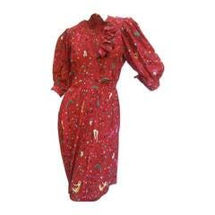 Emanuel Ungaro Paris Crimson Silk Circus Print Dress Size 6  c 1980
