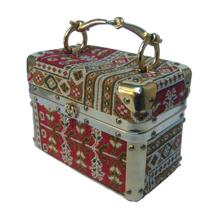 Saks Fifth Avenue Tapestry Trunk Style Handbag Made in Italy c 1970 For Sale