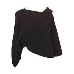 Chanel Black Asymmetrical Ribbed Poncho - 40
