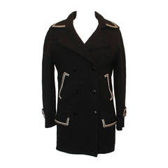 Chanel Black & White Wool Pea Coat - 36