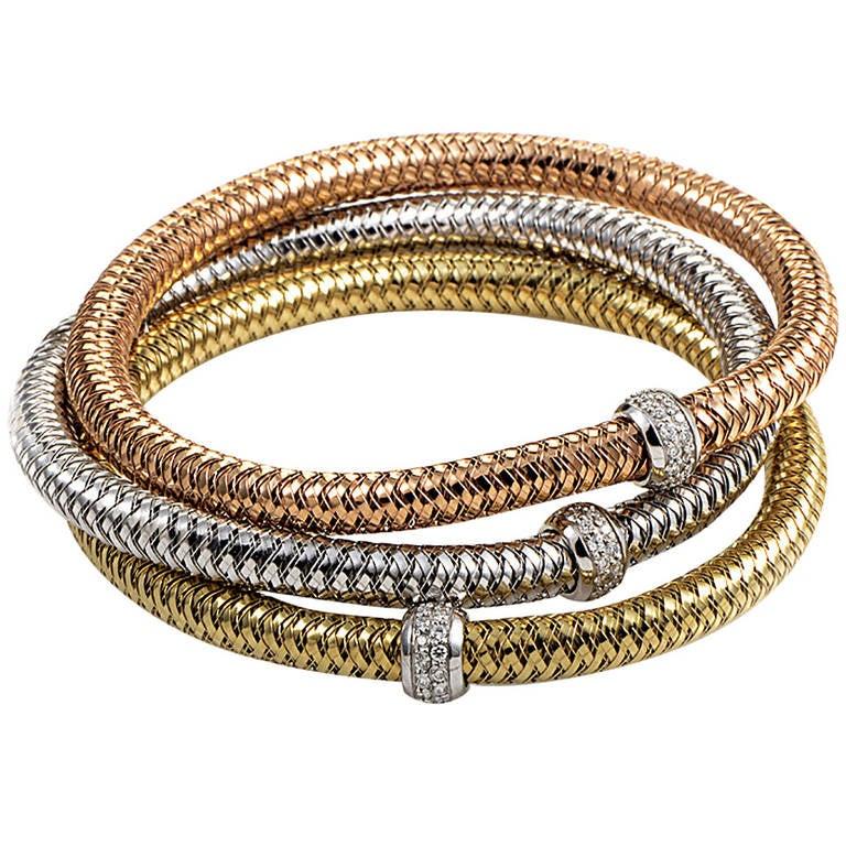 Roberto Coin Primavera Diamond Tri Gold Flexible Bracelet Set at