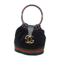 Gucci Luxurious Black Suede Lucite Handle Handbag c 1970