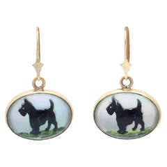 Puppy Dog Tails Mid 20th Century Gold Scottish Terrier Drop Earrings