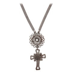 Antique GeorgianSilesian Wirework Cross c .1800