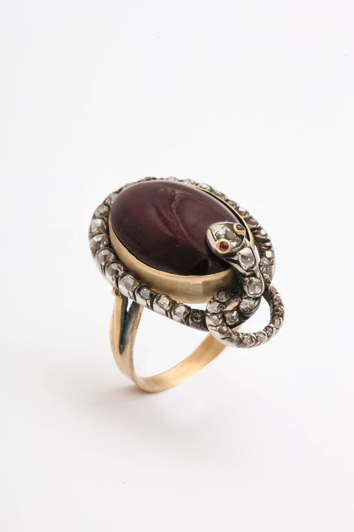Victorian Garnet and Diamond Serpent Ring Symbolizes Love's Ardor In Excellent Condition For Sale In Hastings on Hudson, NY