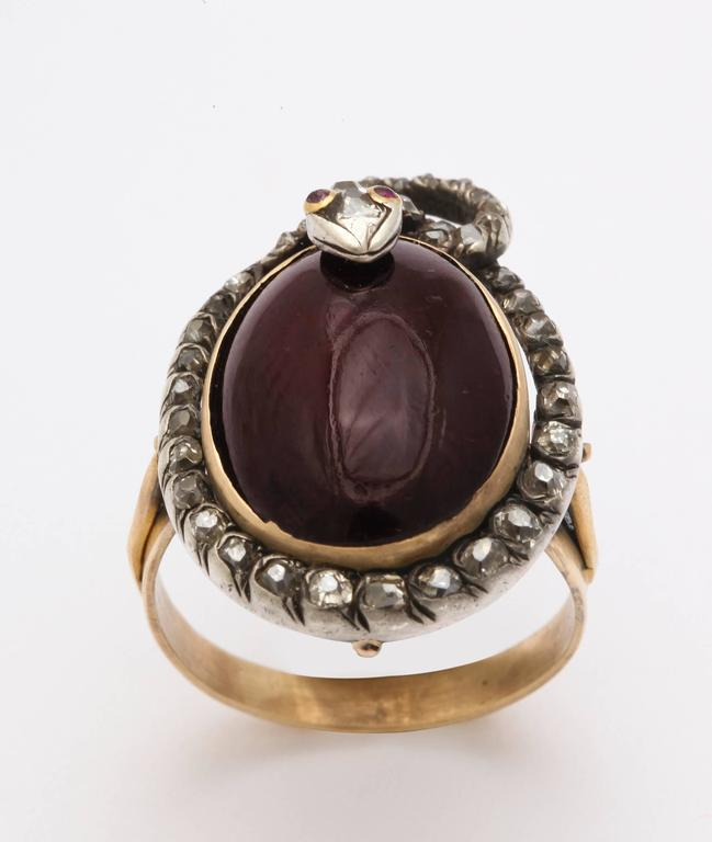 Women's Victorian Garnet and Diamond Serpent Ring Symbolizes Love's Ardor For Sale