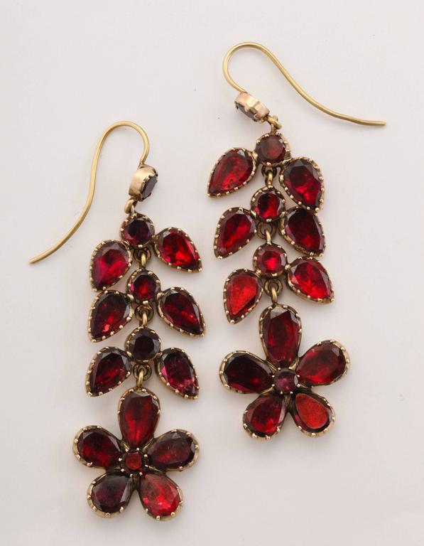 George IV Georgian Garnet Chandelier Earrings Signify Affection For Sale