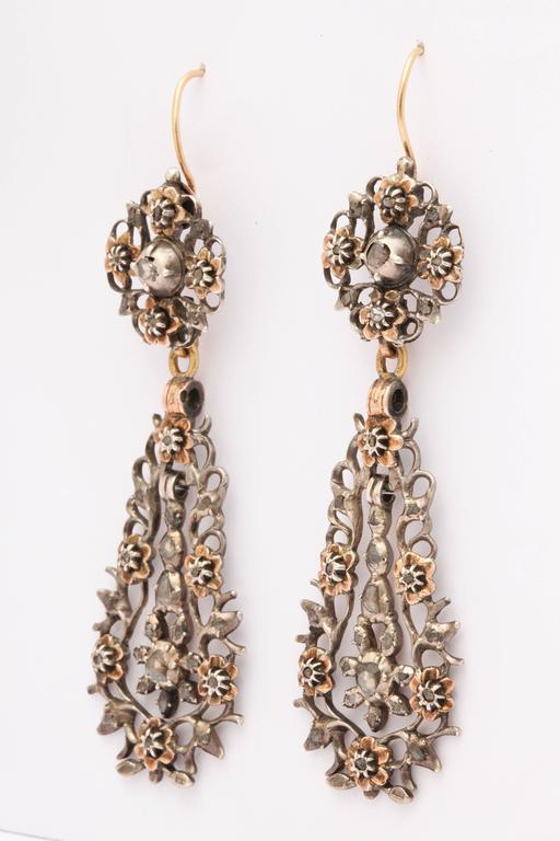 George IV 15 kt and Sterling Flemish Chandelier Earrings c.1820  For Sale