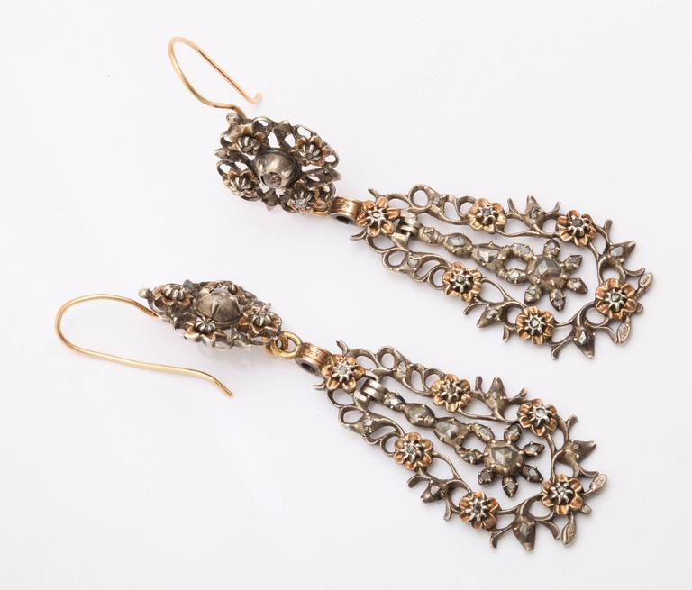 15 kt and Sterling Flemish Chandelier Earrings c.1820  In Excellent Condition For Sale In Stamford, CT
