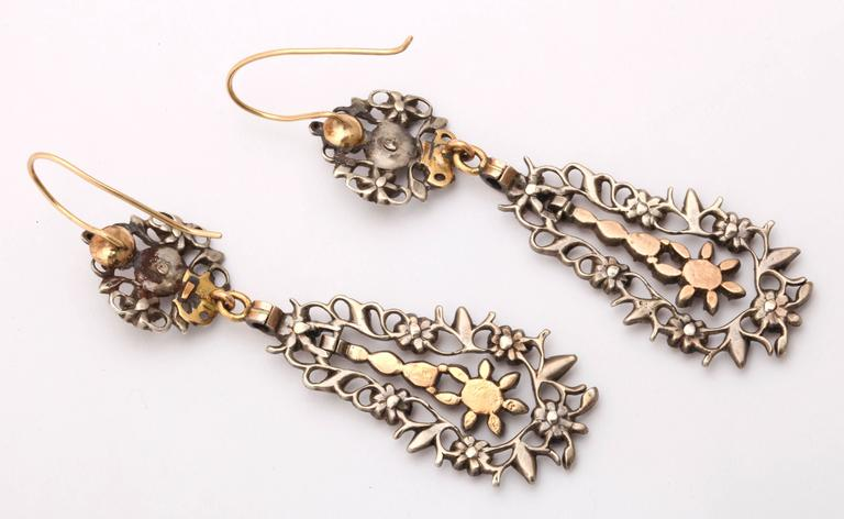 Women's 15 kt and Sterling Flemish Chandelier Earrings c.1820  For Sale