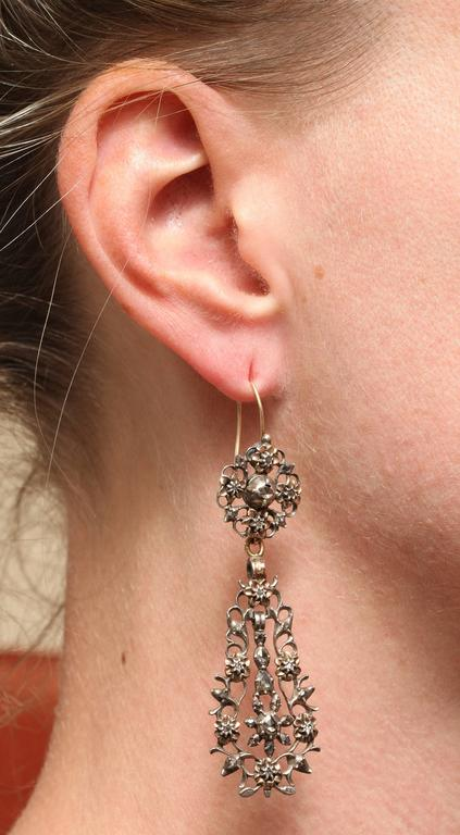 15 kt and Sterling Flemish Chandelier Earrings c.1820  For Sale 1