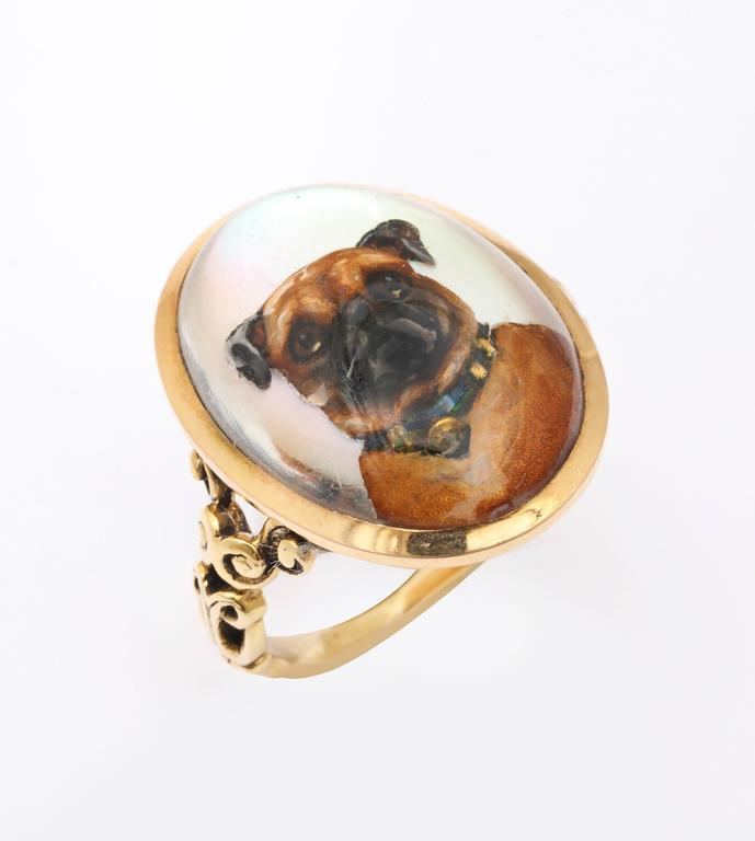 A self composed proud pug carved and painted on the reverse of a rock crystal Victorian ring sports an antique dog collar with a suspended heart. The background glistens. The brown and black pup pops forward, his nose at the crystal, his loving eyes