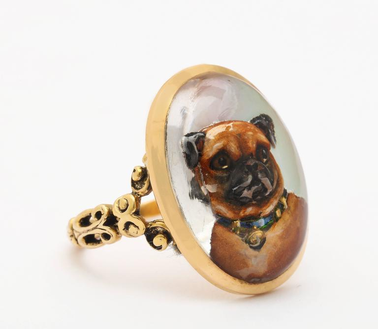Love is a Pug Reverse Crystal Victorian Intaglio Ring c. 1870 In Excellent Condition In Stamford, CT