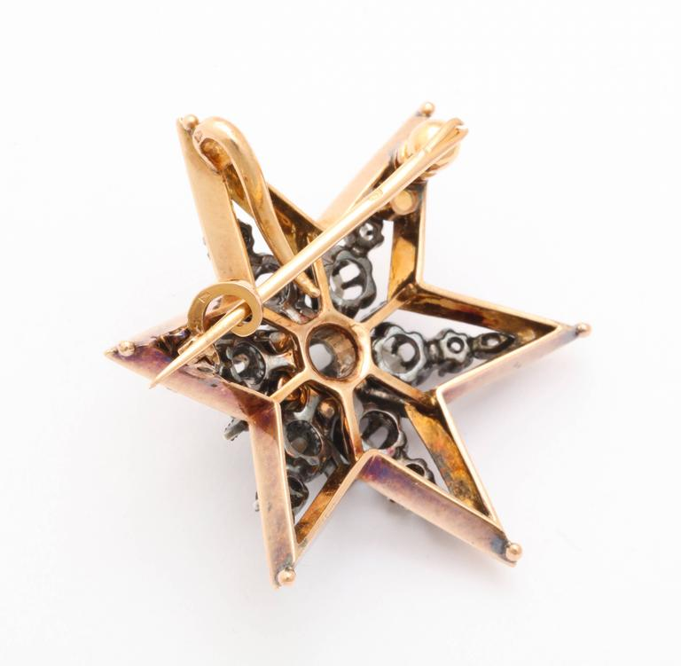 Antique Victorian Gold Diamond Pendant or circa 1860 Brooch For Sale 2
