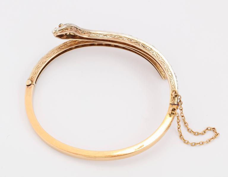 Women's Victorian Emerald Eyed Diamond Snake Bracelet For Sale