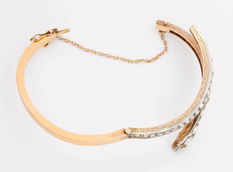 Victorian Emerald Eyed Diamond Snake Bracelet For Sale 1