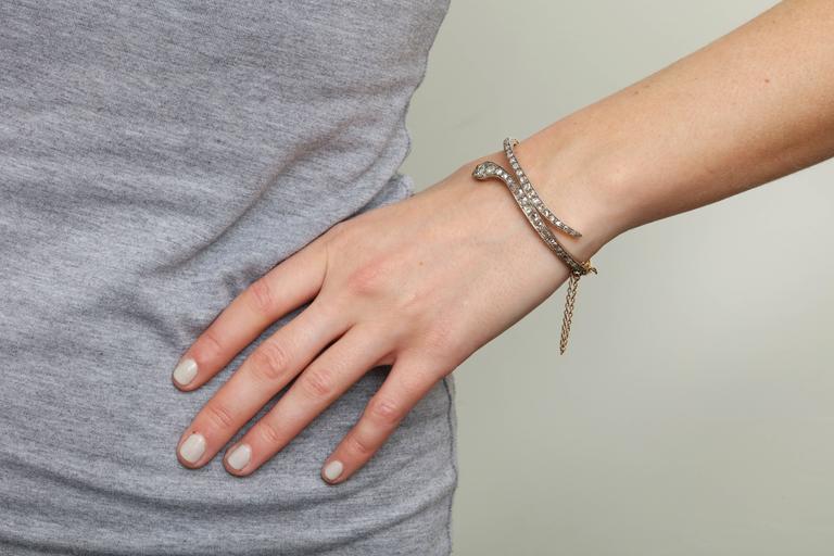Victorian Emerald Eyed Diamond Snake Bracelet For Sale 2