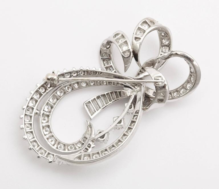 Radiant Bow and Ribbon Diamond Pendant or Brooch, circa 1950 For Sale 1