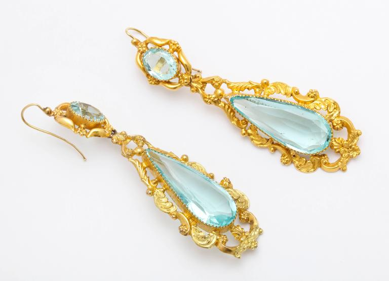 George IV Antique Brilliant Georgian Aqua Paste and Pinchbeck Earring For Sale