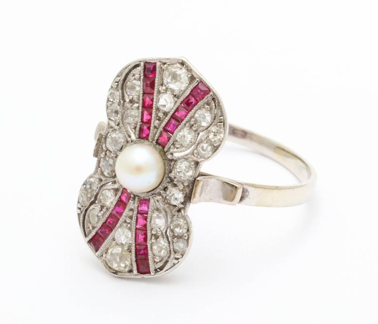 Art Deco Ruby Diamond Pearl Ring In Excellent Condition For Sale In Stamford, CT
