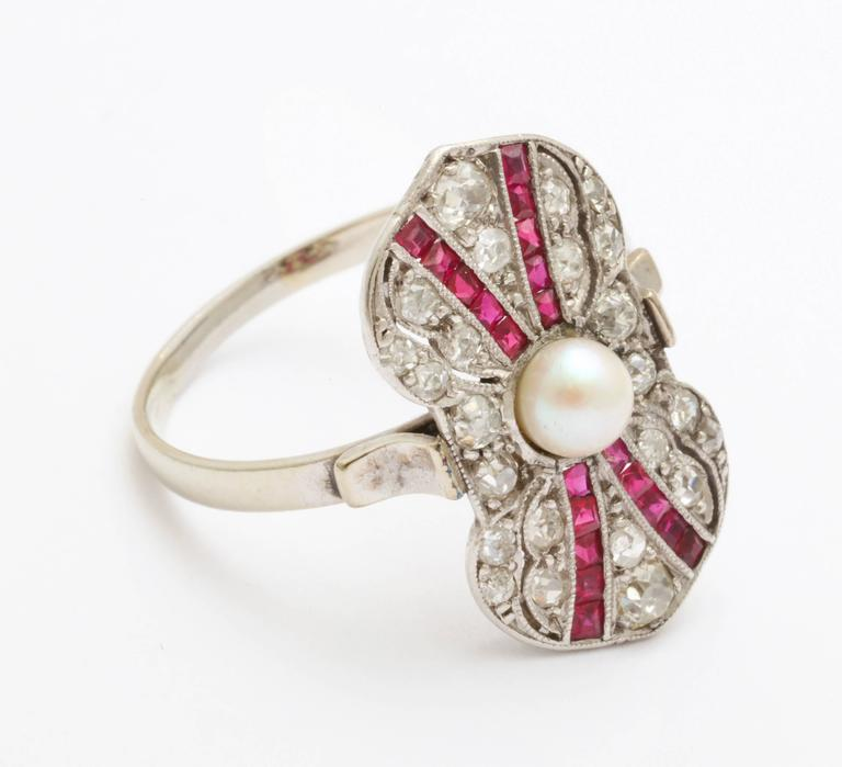 Art Deco Ruby Diamond Pearl Ring For Sale 1