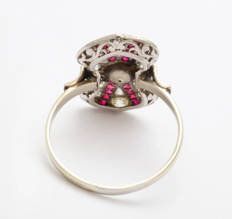 Art Deco Ruby Diamond Pearl Ring For Sale 2