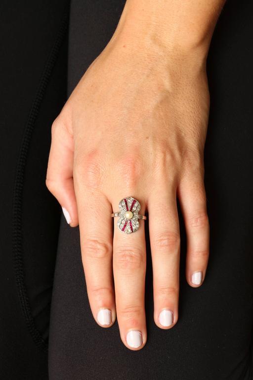 Women's Art Deco Ruby Diamond Pearl Ring For Sale