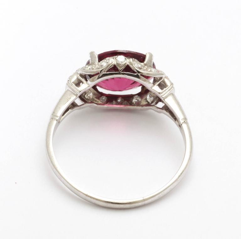 Oval Cut Vintage Rhodolite Garnet  Diamond PLATINUM Ring   For Sale
