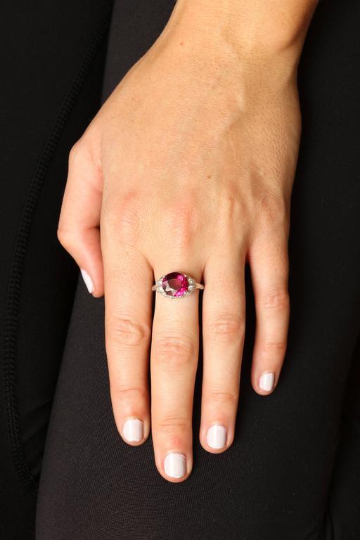 Women's Vintage Rhodolite Garnet  Diamond PLATINUM Ring   For Sale