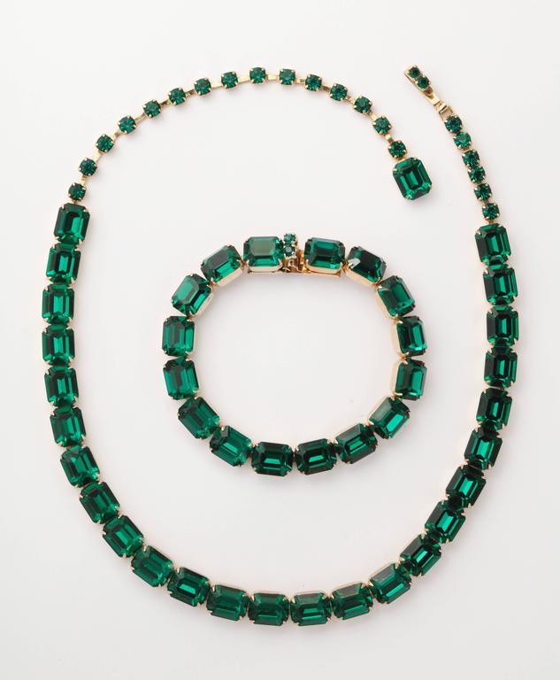 Vintage Emerald Austrian Crystal Vermeil Necklace and Bracelet 2