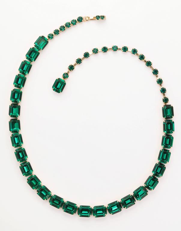Vintage Emerald Austrian Crystal Vermeil Necklace and Bracelet 3