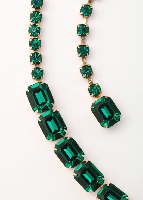 Vintage Emerald Austrian Crystal Vermeil Necklace and Bracelet 4