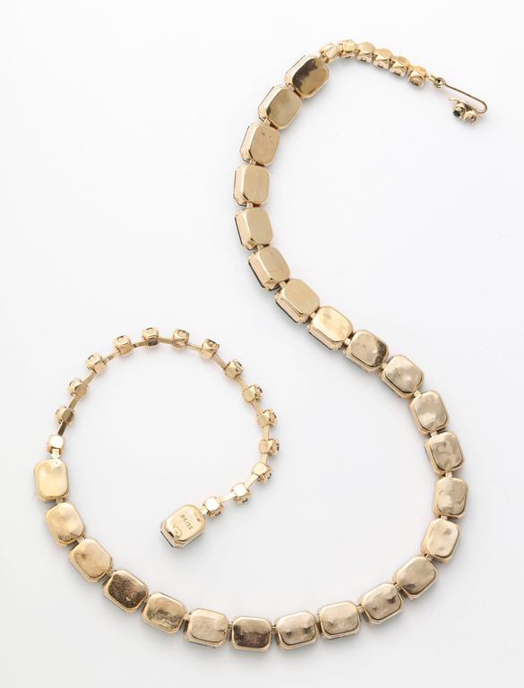 Vintage Emerald Austrian Crystal Vermeil Necklace and Bracelet 6