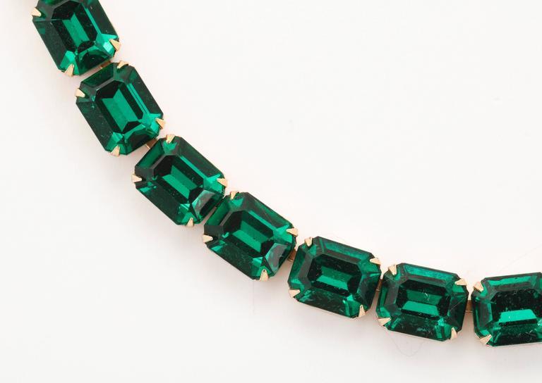 Vintage Emerald Austrian Crystal Vermeil Necklace and Bracelet 5