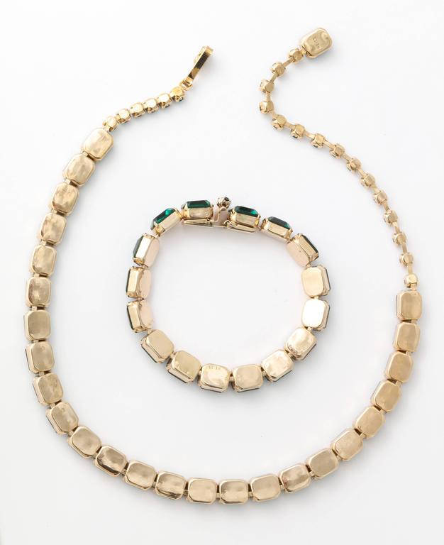 Vintage Emerald Austrian Crystal Vermeil Necklace and Bracelet 7