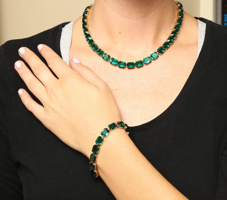 Vintage Emerald Austrian Crystal Vermeil Necklace and Bracelet 8