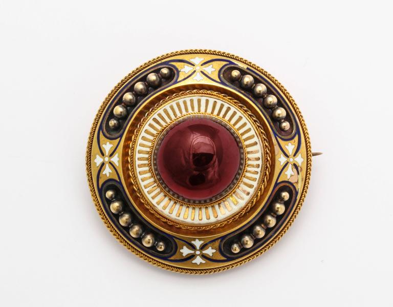 Antique Victorian Large Garnet White Enamel Gold Brooch 2