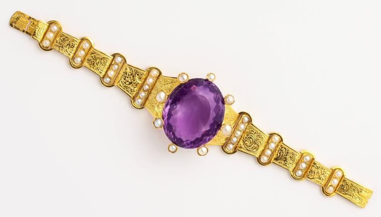 18 kt Victorian Amethyst Pearl Gold Bracelet 3